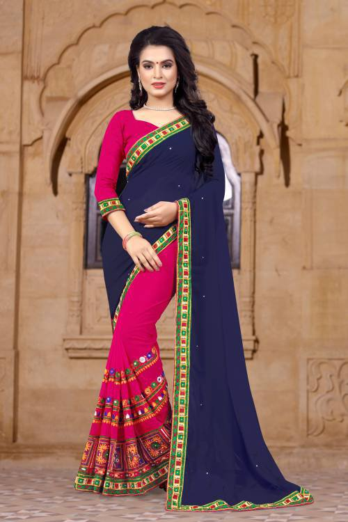 Blue And Pink Georgette Embroidered Saree With Blouse Piece