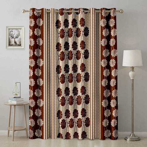 Brown Polyester Abstract Printed Single Window Curtain