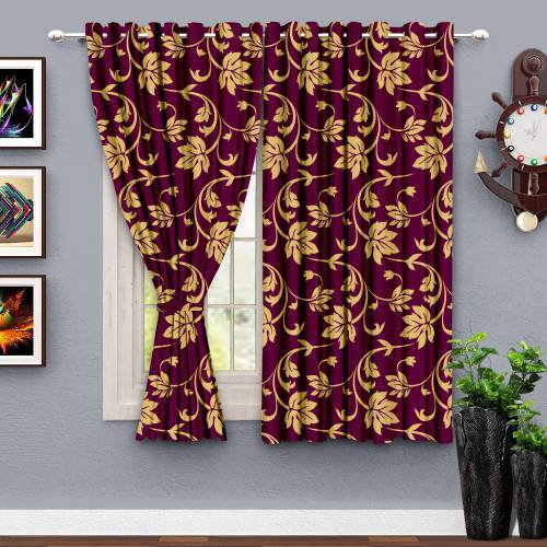 Purple Polyester Abstract Printed Window Curtain Pair