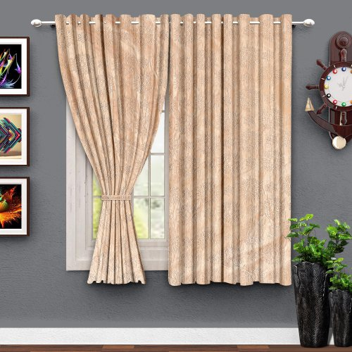 Beige Polyester Appliqued Curtain Pack Of 2
