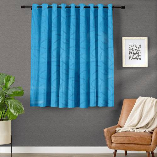 Blue Polyester Appliqued Curtain Pack Of 1