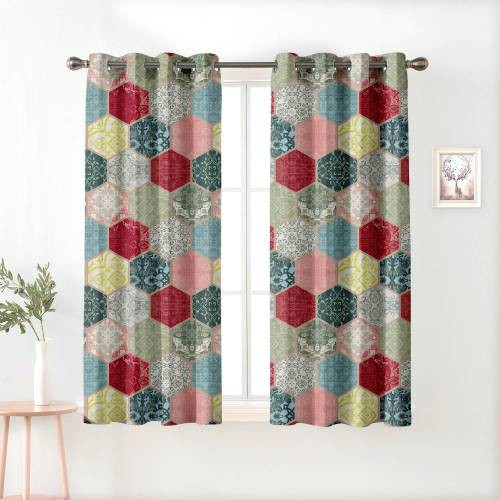 Grey Polyester Semi Blackout Window Curtains