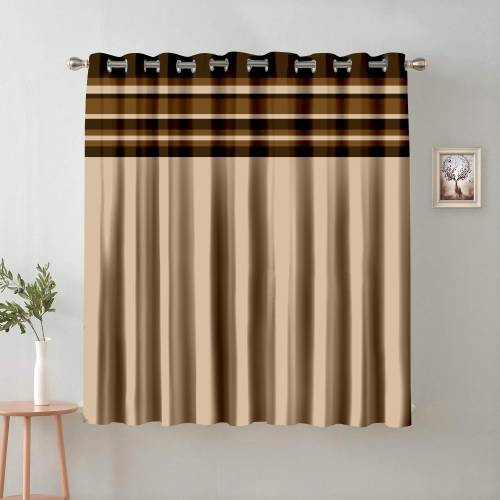 Beige And Brown Polyester Semi Blackout Window Single Curtain