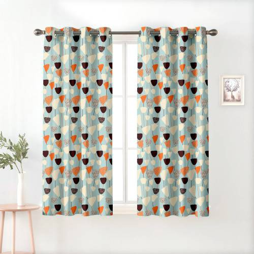 Blue Polyester Semi Blackout Window Curtains
