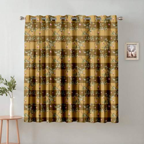 Brown Polyester Semi Blackout Window Single Curtain