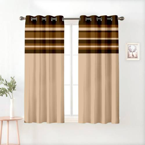 Beige And Brown Polyester Semi Blackout Window Curtains