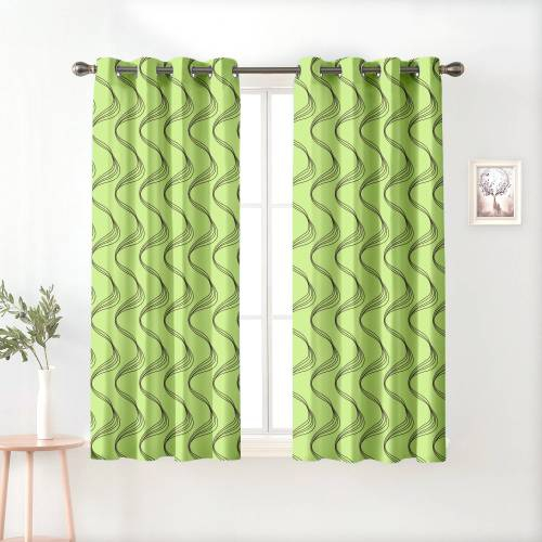 Green Polyester Semi Blackout Window Curtains