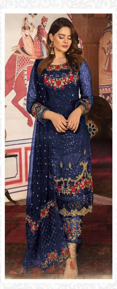 Blue Georgette Embroidered Semi Stitched Suit