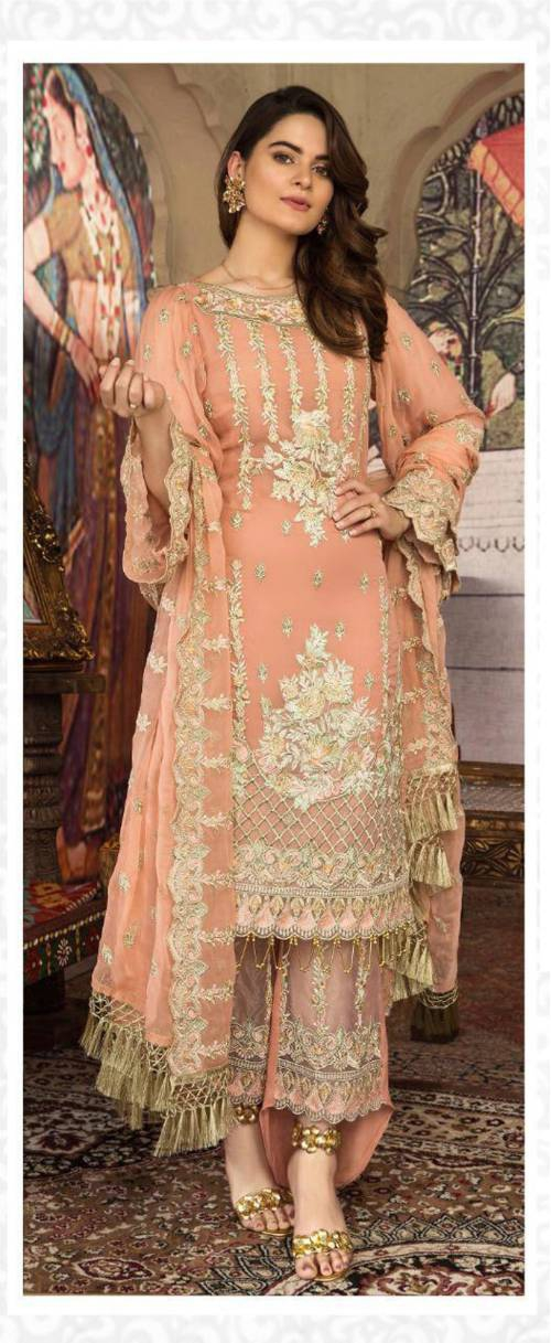Orange Georgette Embroidered Semi Stitched Suit