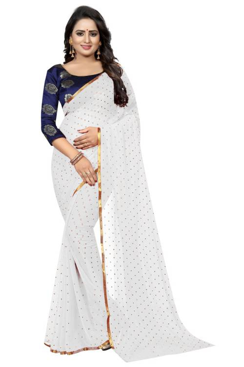 Angel Trends White Chanderi Floral Printed Saree With Blouse Piece
