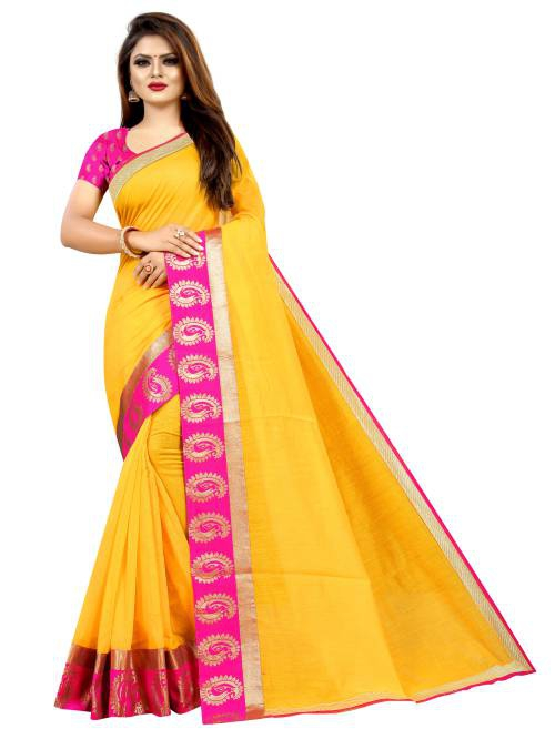 Angel Trends Yellow Chanderi Floral Printed Saree With Blouse Piece