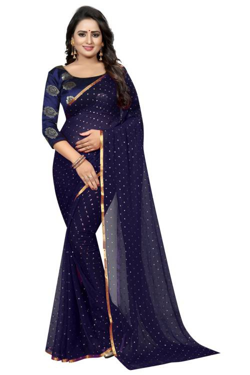 Angel Trends Blue Chanderi Floral Printed Saree With Blouse Piece