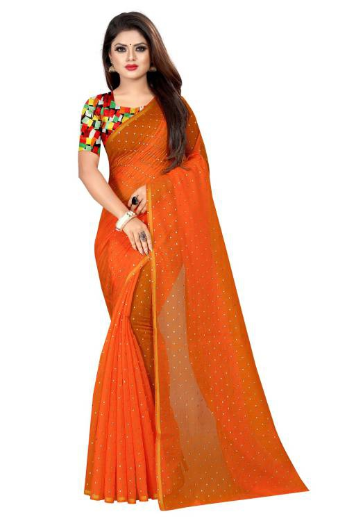 Angel Trends Blue, Orange Chanderi Floral Printed Saree With Blouse Piece