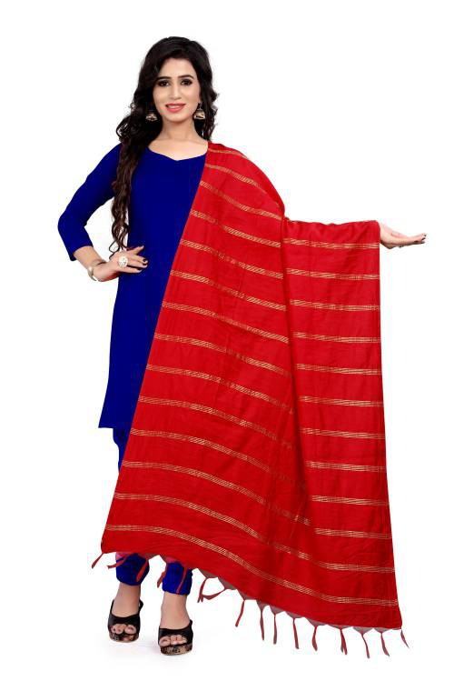 Angel Trends Red Cotton Woven Dupatta