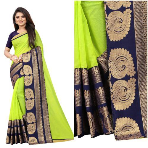 Angel Trends Green Chanderi Floral Printed Saree With Blouse Piece