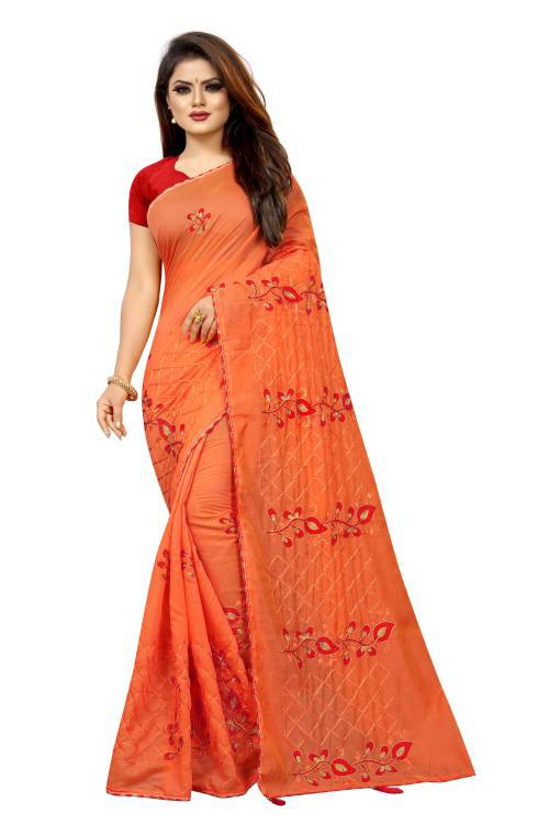 Angel Trends Orange Chanderi Floral Printed Saree With Blouse Piece