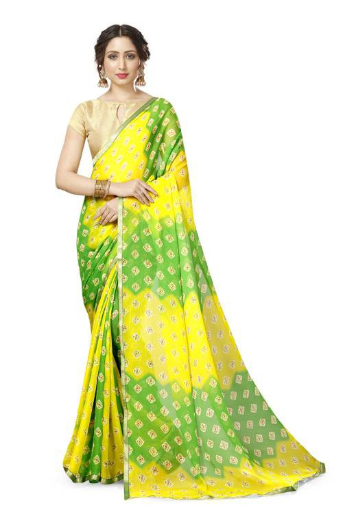 Yellow Geogertte Printed Saree With Blouse Piece