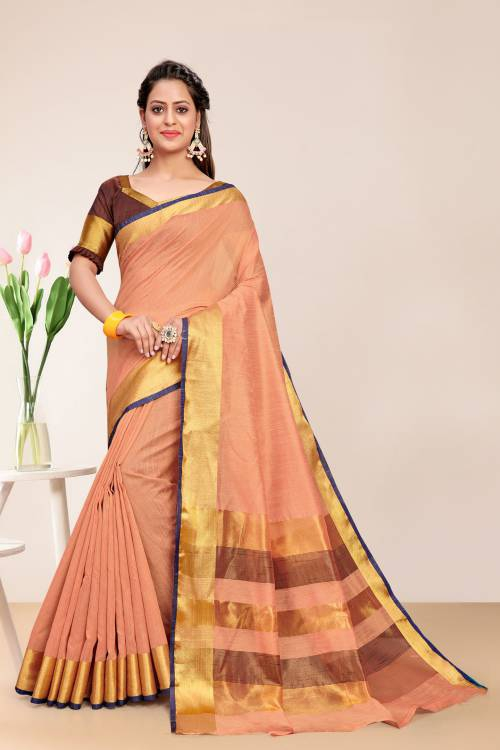 Off White Cotton Printed Saree With Blouse Piece