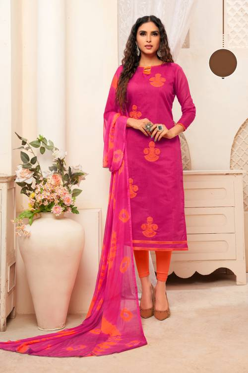 Pink Silk Blend Embroidered Unstitched Suit