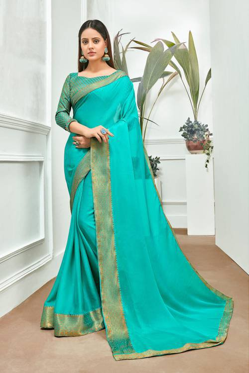 Sky Blue Chiffon Plain Saree With Blouse Piece