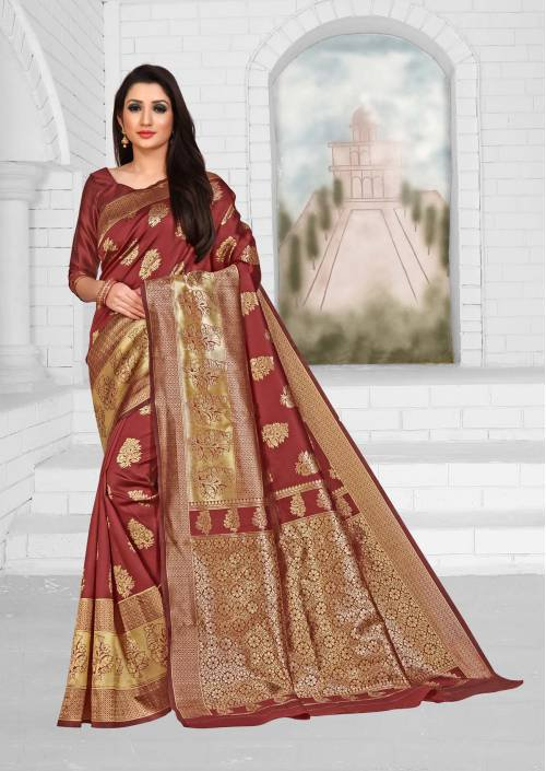 Maroon Cotton Jacquard Woven Saree With Blouse Piece