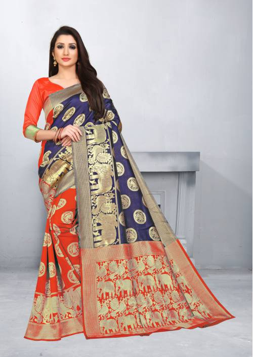 Red Cotton Jacquard Woven Saree With Blouse Piece