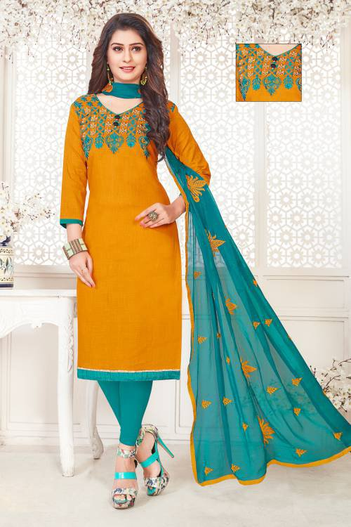 Yellow Cotton Blend Embroidered Unstitched Suit