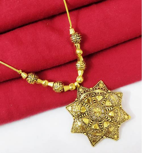 Halltree Gold Plated Pendent Set With Chain And Earrings