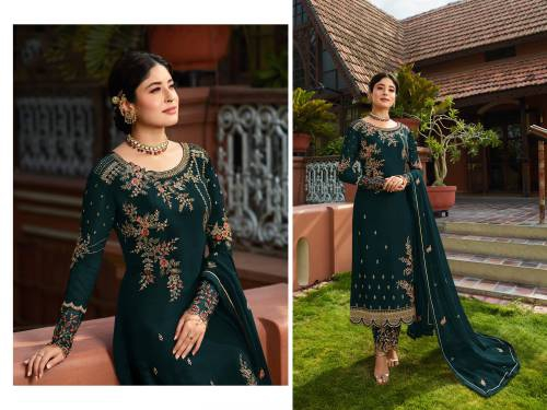 Designer Turquoise Embroidered Long  Georgette Straight Suit