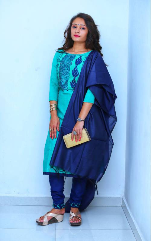 Sky Blue Silk Embroidered Unstitched Straight Suit