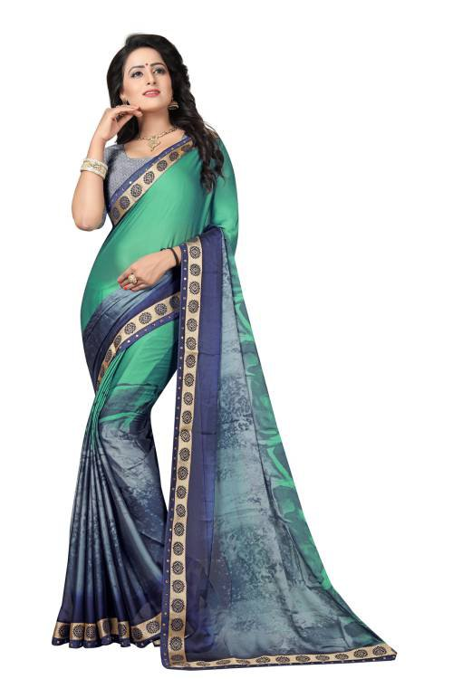 Bhargavi Multicolor Printed Lace Border Crepe Saree With Blouse Piece