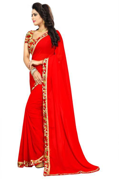 Bhargavi Red Georgette Lace Border Saree With Blouse Piece