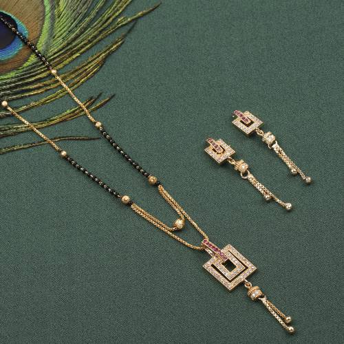 Gold Plated Women\'s Mangalsutras With Earrings