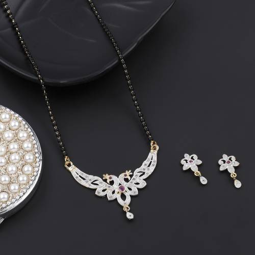 Gold Plated Alloy Metal Crystal Embellished Mangalsutra Withearring  Set