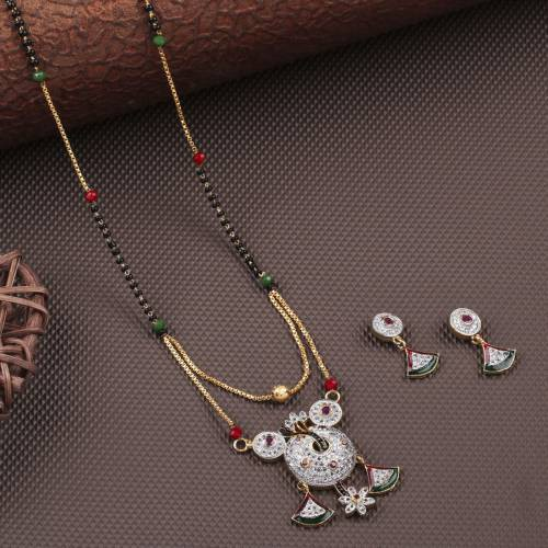 Gold Plated American Diamond Mangalsutra With Earring
