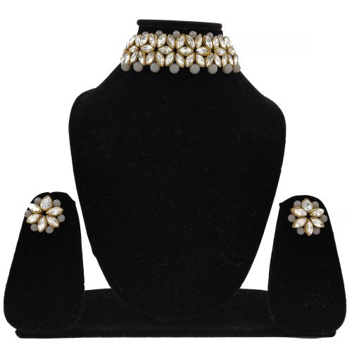 Gold Plated Alloy Metal Crystal Embellished Necklace Set