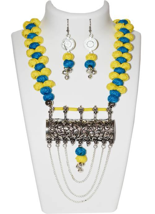 Yellow And Blue Fasionable Traditional Partywear Necklace