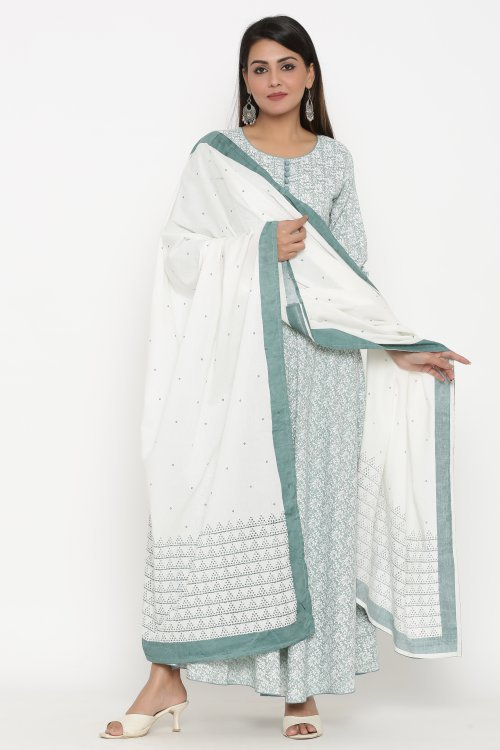 Green Viscose Printed Designer Dress With Dupatta