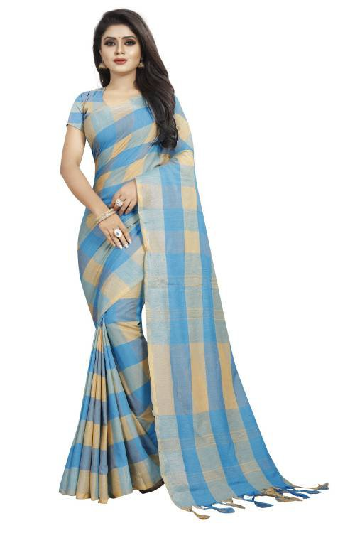 Sky Blue Cotton Blend Checks Saree With Blouse Piece
