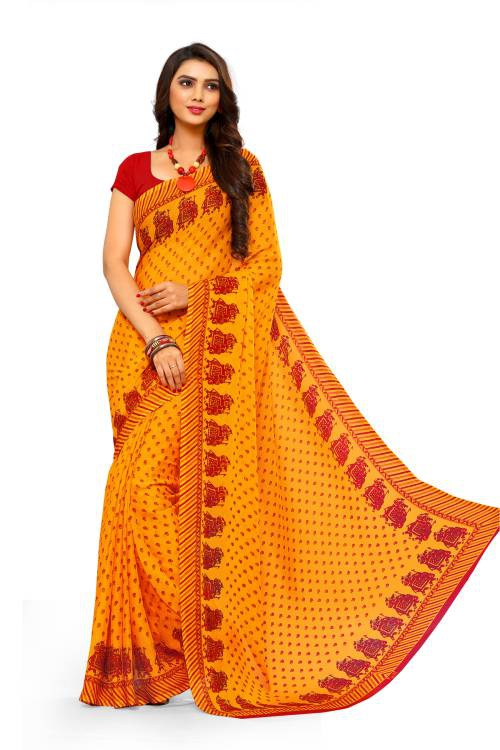 Yellow Chiffon Floral Printed Saree With Blouse Piece