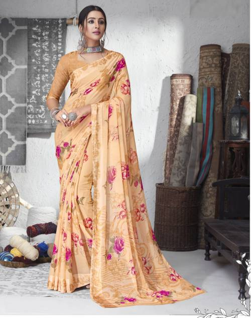 Peach Chiffon Floral Printed Saree With Blouse Piece