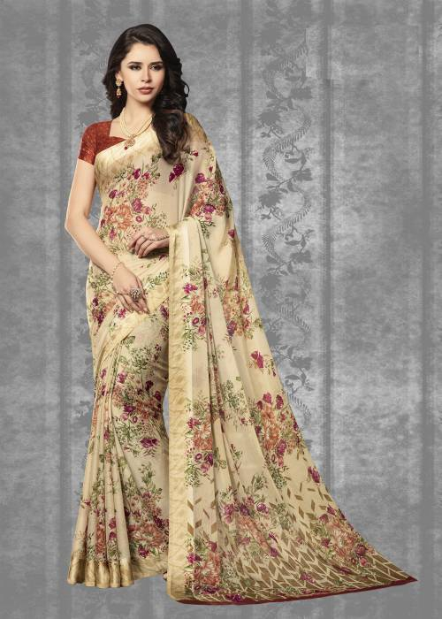 Beige Chiffon Floral Printed Saree With Blouse Piece