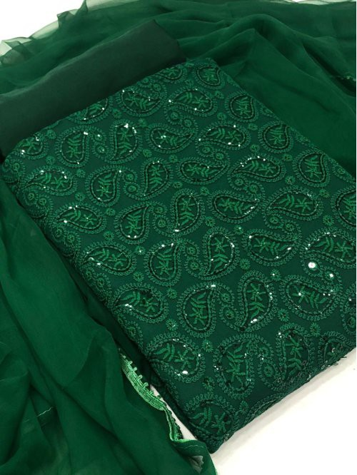 Green Chiffon Embroidered Unstitched Straight Suit