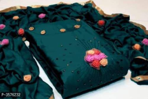 Teal Green Cotton Embroidered Unstitched Straight Suit