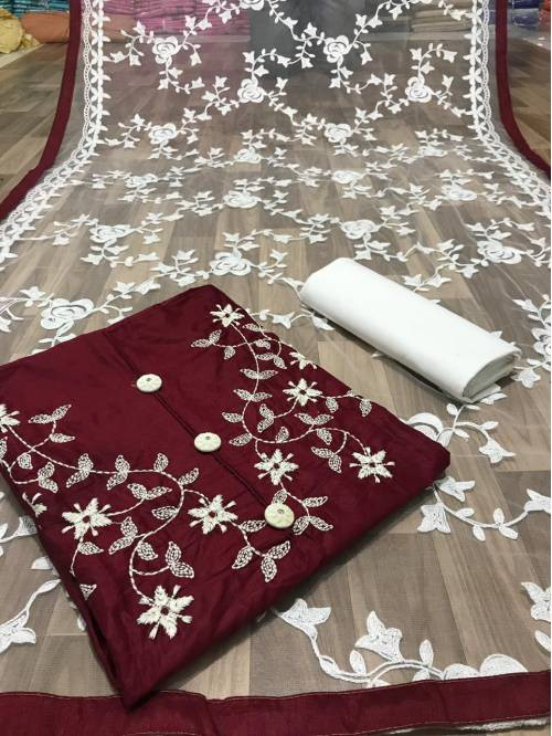 Ishika Enterprise Maroon Cotton Embroidered Unstitched Straight Suit