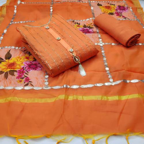 Ishika Enterprise Peach Chanderi Embroidered Unstitched Straight Suit