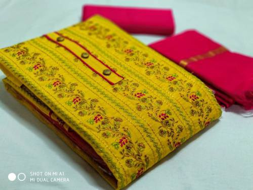 Ishika Enterprise Yellow Cotton Embroidered Unstitched Straight Suit