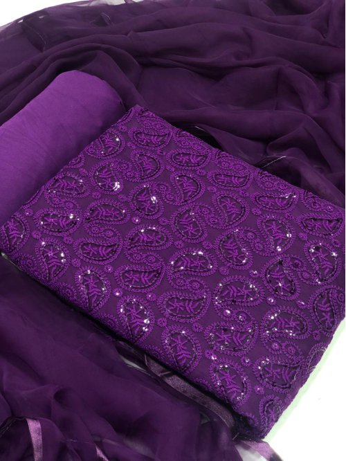 Violet Chiffon Embroidered Unstitched Straight Suit