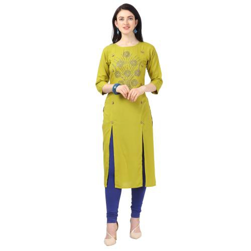 Green Rayon Embellished Knee Length A Line Style Kurti