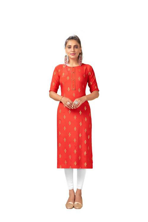 Red Art Silk Embroidered Knee Length Straight Kurti